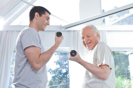 Senior doing Physiotherapy and strengthening in Oakville, Bronte to help with arthritis and injury