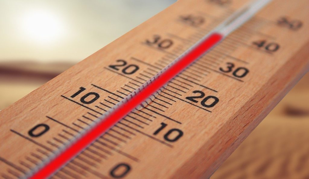 stock photo of thermometer showing nearly 40 degrees Celsius, indicating how how hot yoga typically is