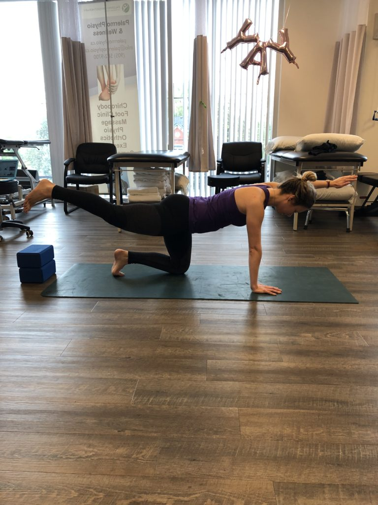 Mississauga Physio showing bird-dog yoga pose