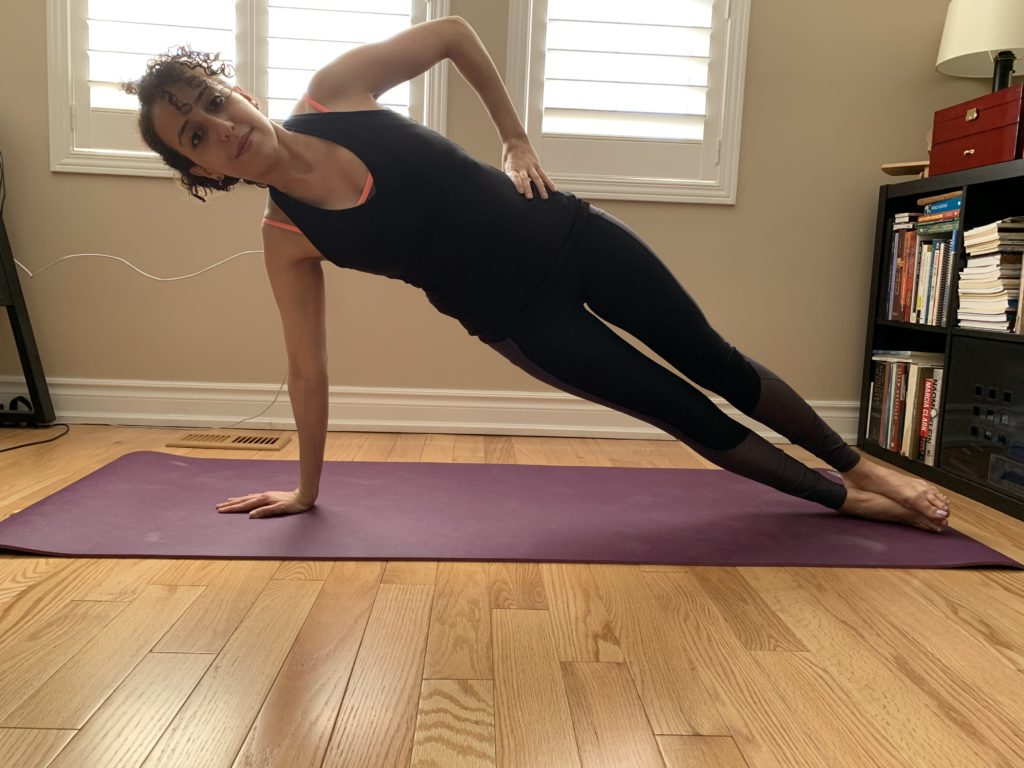 Side plank, showing oakville physio clinic
