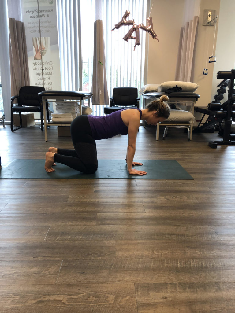 Yoga table pose showing oakville Physio treatment for wrist pain